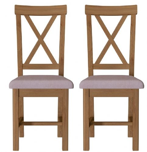 Pair of Richmond Rustic Oak Cross Back Dining Chairs